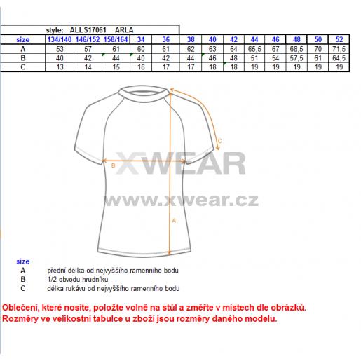 Dámské triko s krátkým rukávem ALTISPORT ARLA ALLS17061 TYRKYSOVÁ