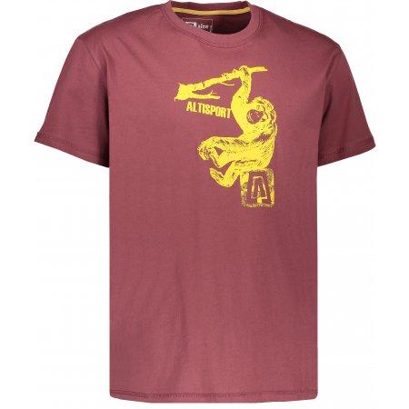 Pánské triko s krátkým rukávem ALTISPORT JODI ALMS17072 HNĚDÁ