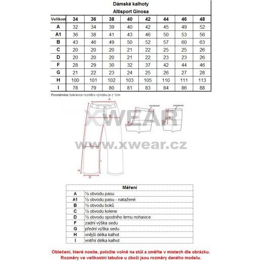 Dámské outdoorové kalhoty ALTISPORT GINOSA ALLW17033 ČERNORŮŽOVÁ