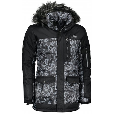 Pánská zimní bunda ALTISPORT AMRI ALMW17016 ŠEDÝ MASKÁČ