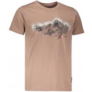 Pánské tričko s krátkým rukávem ALPINE PRO UNEG 5 MTSL255 HNĚDÁ POTISK