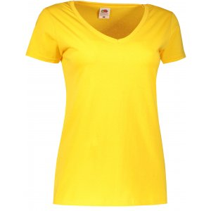 Dámské tričko FRUIT OF THE LOOM LADY FIT V-NECK  SUNFLOWER