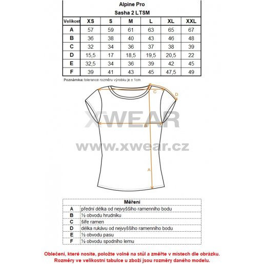 Dámské triko ALPINE PRO SASHA 2 LTSM341 SVĚTLE ČERVENÁ