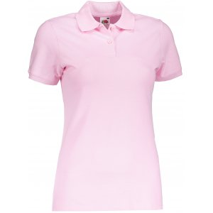 Dámské triko s límečkem FRUIT OF THE LOOM FIT POLO LIGHT PINK