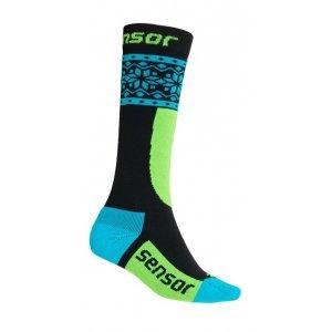 Dětské lyžařské ponožky SENSOR THERMOSNOW NORWAY 18200064 ČERNÁ MODRÁ 4e7629cef0