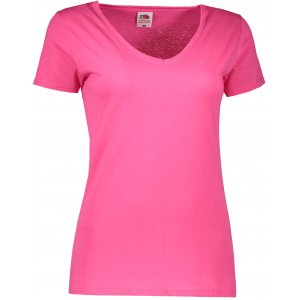 Dámské tričko FRUIT OF THE LOOM LADY FIT V-NECK  FUCHSIA