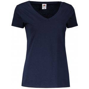 Dámské tričko FRUIT OF THE LOOM LADY FIT VALUEWEIGHT V-NECK T DEEP NAVY