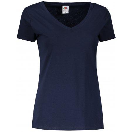 Dámské tričko FRUIT OF THE LOOM LADY FIT VALUEWEIGHT V-NECK T DEEP NAVY