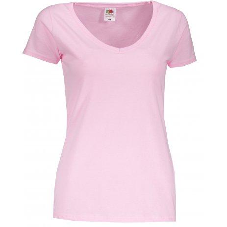 Dámské tričko FRUIT OF THE LOOM LADY FIT V-NECK LIGHT PINK
