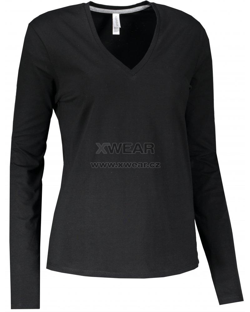 Dámské triko s dlouhým rukávem KARIBAN V-NECK BLACK velikost  L ... 719b6d6b34