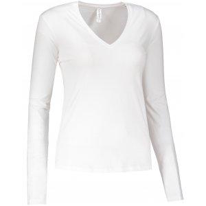 Dámské triko s dlouhým rukávem KARIBAN V-NECK WHITE