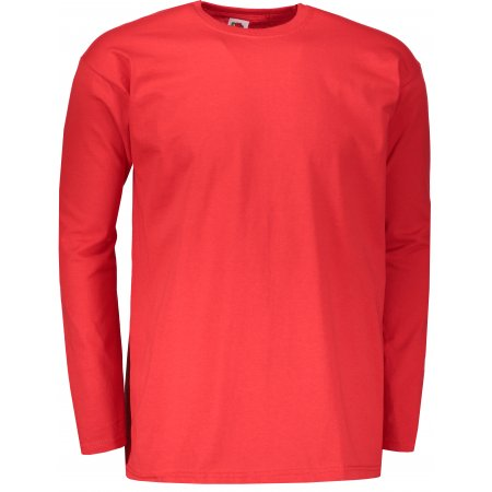 Pánské triko s dlouhým rukávem FRUIT OF THE LOOM VALUEWEIGHT LONG SLEEVE T RED