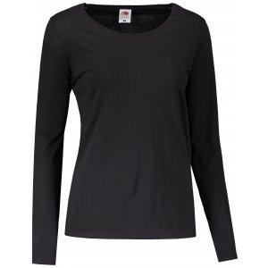 Dámské triko s dlouhým rukávem FRUIT OF THE LOOM LADY FIT VALUEWEIGHT T BLACK