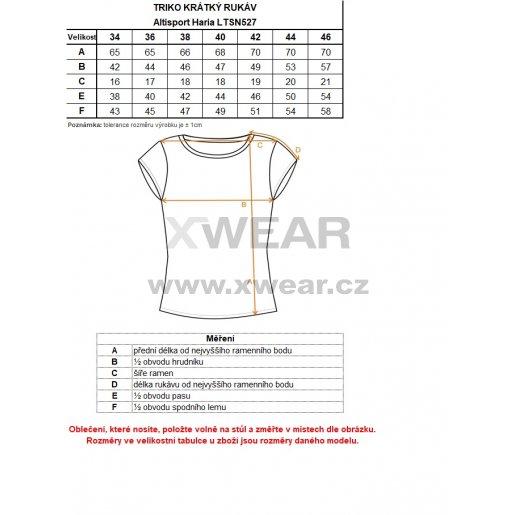 Dámské triko s krátkým rukávem ALTISPORT HARIA LTSN527 ČERNÁ