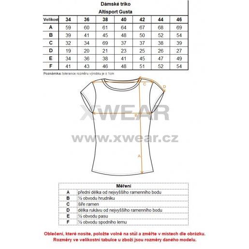 Dámské triko s krátkým rukávem ALTISPORT GUSTA LTSN528 BÍLÁ