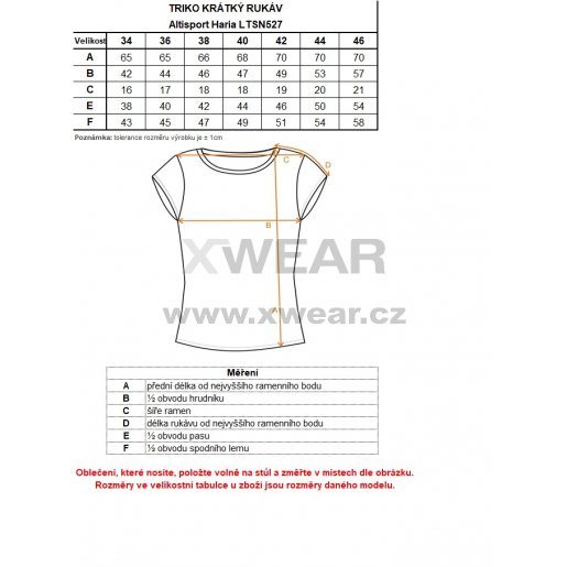 Dámské triko s krátkým rukávem ALTISPORT HARIA LTSN527 RŮŽOVÁ