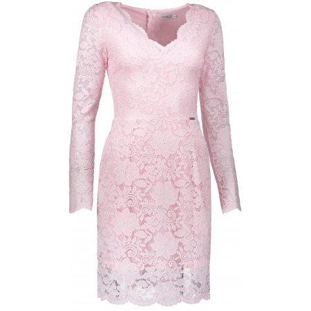 Dámské krajkové šaty NUMOCO A170-4 SVĚTLE RŮŽOVÁ