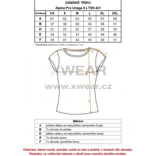 Dámské tričko s krátkým rukávem ALPINE PRO UNEGA 5 LTSN421 ZELENÁ