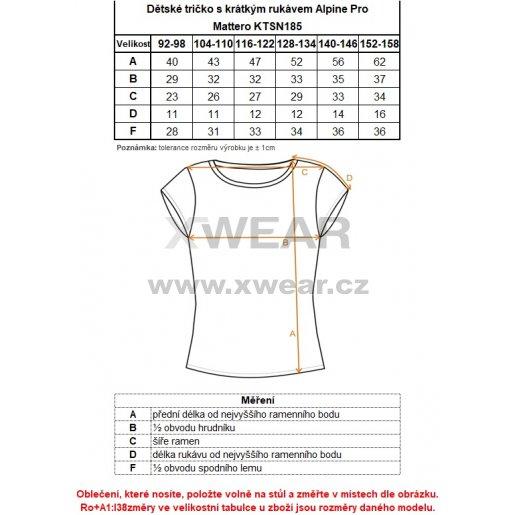 Dětské tričko s krátkým rukávem ALPINE PRO MATTERO KTSN185 SVĚTLE MODRÁ