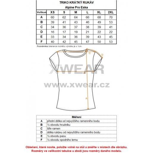 Dámské triko s krátkým rukávem ALPINE PRO ESKA LTSN546 ČERNÁ