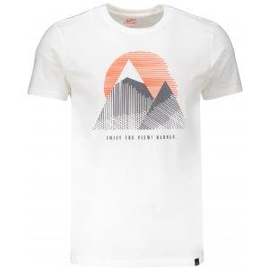 Pánské triko s krátkým rukávem HANNAH BORDON BRIGHT WHITE/PRINT 1