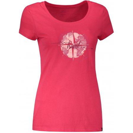 Dámské triko s krátkým rukávem HANNAH FLANDIS ROUGE RED/PRINT 1