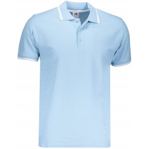Pánské triko s límečkem FRUIT OF THE LOOM PREMIUM TIPPED POLO SKY BLUE/WHITE