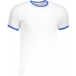 Pánské triko FRUIT OF THE LOOM VALUEWEIGHT RINGER T WHITE/ROYAL BLUE