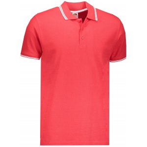 Pánské triko s límečkem FRUIT OF THE LOOM PREMIUM TIPPED POLO RED/WHITE