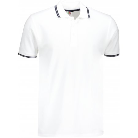 Pánské triko s límečkem FRUIT OF THE LOOM PREMIUM TIPPED POLO WHITE/DEEP NAVY
