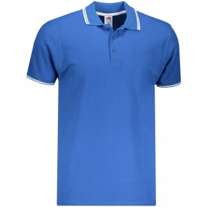 Pánské triko s límečkem FRUIT OF THE LOOM PREMIUM TIPPED POLO ROYAL BLUE/WHITE