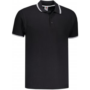 Pánské triko s límečkem FRUIT OF THE LOOM PREMIUM TIPPED POLO BLACK/WHITE