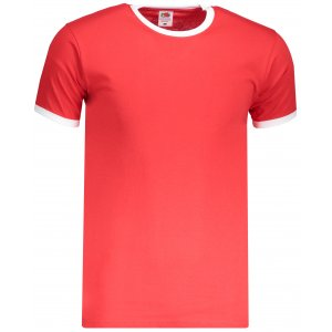 Pánské triko FRUIT OF THE LOOM VALUEWEIGHT RINGER T RED/WHITE