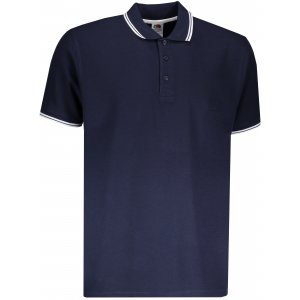 Pánské triko s límečkem FRUIT OF THE LOOM PREMIUM TIPPED POLO DEEP NAVY/WHITE