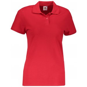 Dámské triko s límečkem FRUIT OF THE LOOM FIT POLO RED