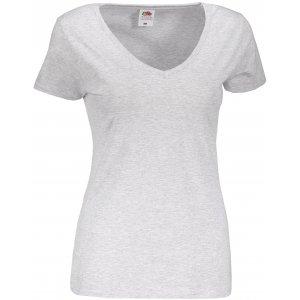 Dámské tričko FRUIT OF THE LOOM LADY FIT V-NECK HEATHER GREY