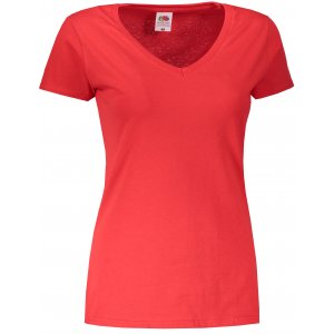 Dámské triko FRUIT OF THE LOOM VALUEWEIGHT V-NECK T RED