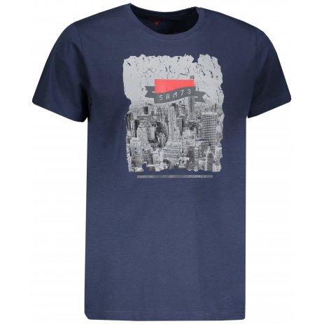 Pánské triko s krátkým rukávem SAM 73 MTSP431 TMAVĚ MODRÁ