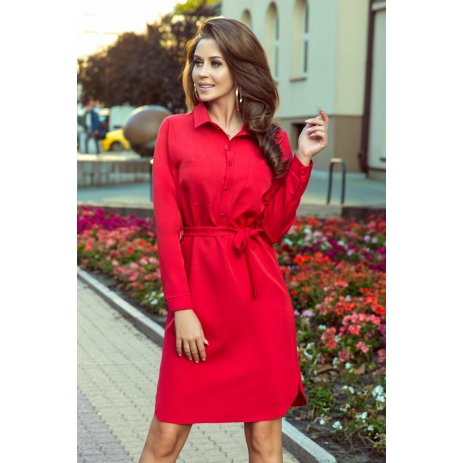 Dámské šaty NUMOCO CAMILLE A284-1 ČERVENÁ