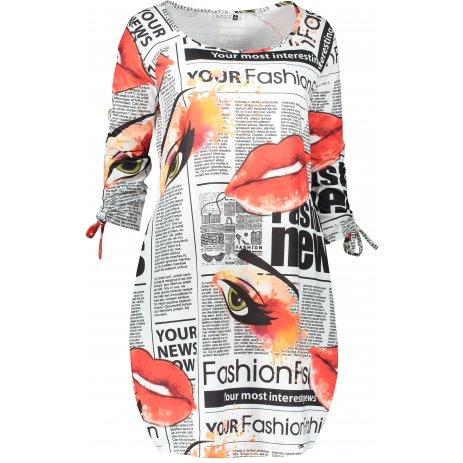 Dámské šaty NUMOCO SOPHIE A281-1 BÍLÁ VZOR
