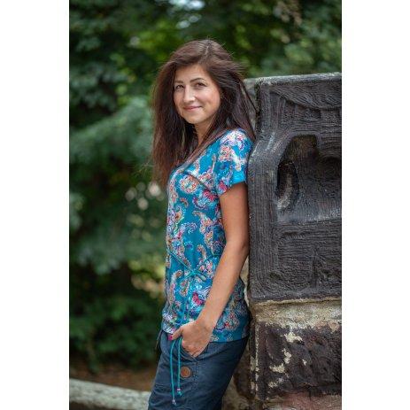 Dámské triko s krátkým rukávem KIXMI JANELLA MODRÁ