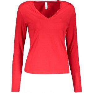 Dámské triko s dlouhým rukávem KARIBAN V-NECK RED