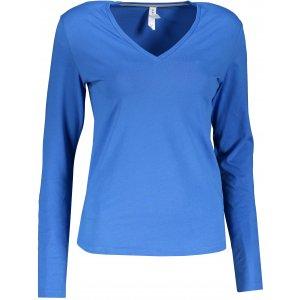 Dámské triko s dlouhým rukávem KARIBAN V-NECK LIGHT ROYAL BLUE