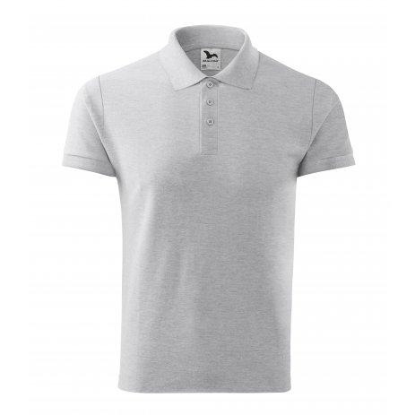 Pánské triko s límečkem MALFINI COTTON 212 SVĚTLE ŠEDÝ MELÍR