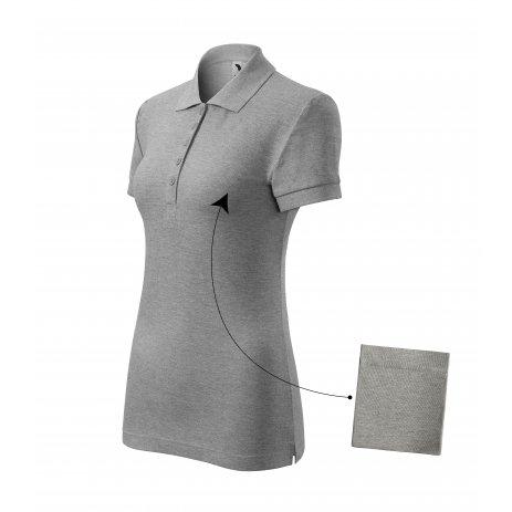 Dámské triko s límečkem MALFINI COTTON 213 TMAVĚ ŠEDÝ MELÍR