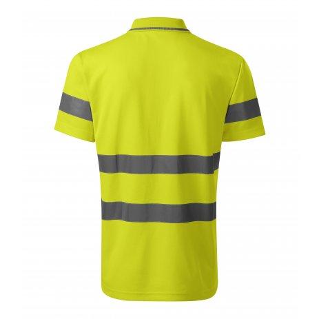 Pánské reflexní triko s límečkem RIMECK 2V9 HV RUNWAY FLUORESCENČNÍ ŽLUTÁ