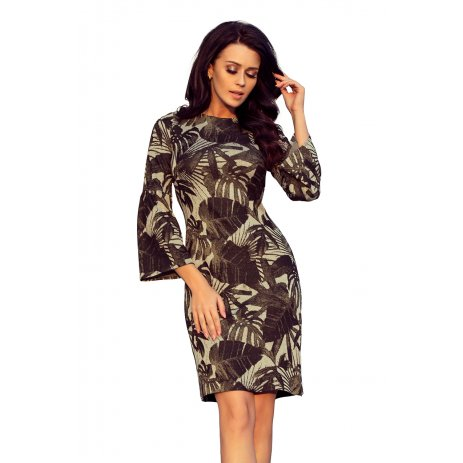 Dámské šaty NUMOCO A221-1 KHAKI LISTY