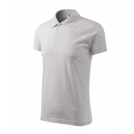 Pánské triko s límečkem MALFINI SINGLE J. 202 SVĚTLE ŠEDÝ MELÍR