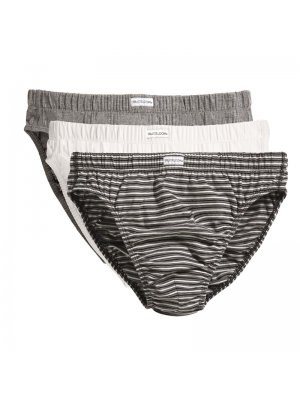 Pánské slipy FRUIT OF THE LOOM CLASSIC SLIP 3PACK BLACK STRIPE/WHITE/GREY