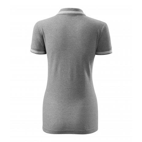 Dámské triko s límečkem MALFINI URBAN 220 TMAVĚ ŠEDÝ MELÍR